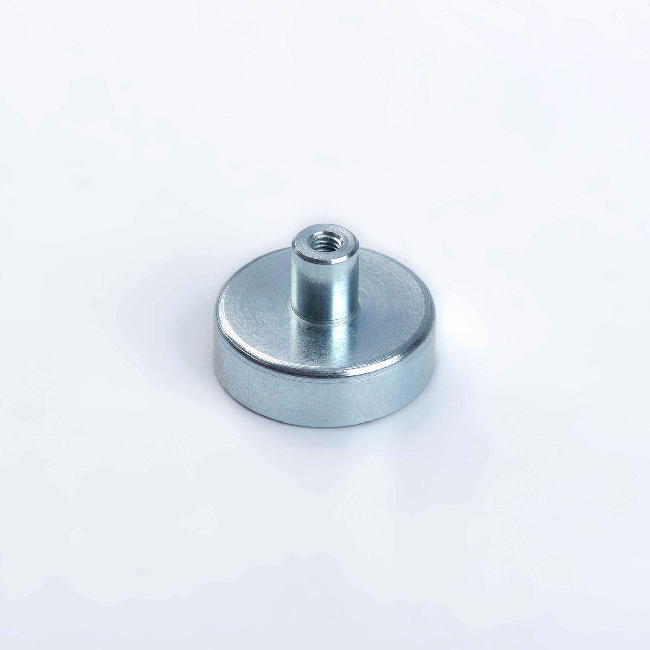 Pot magnet made of hard ferrite with threaded bush, galvanized, thyssenkrupp Magnettechnik