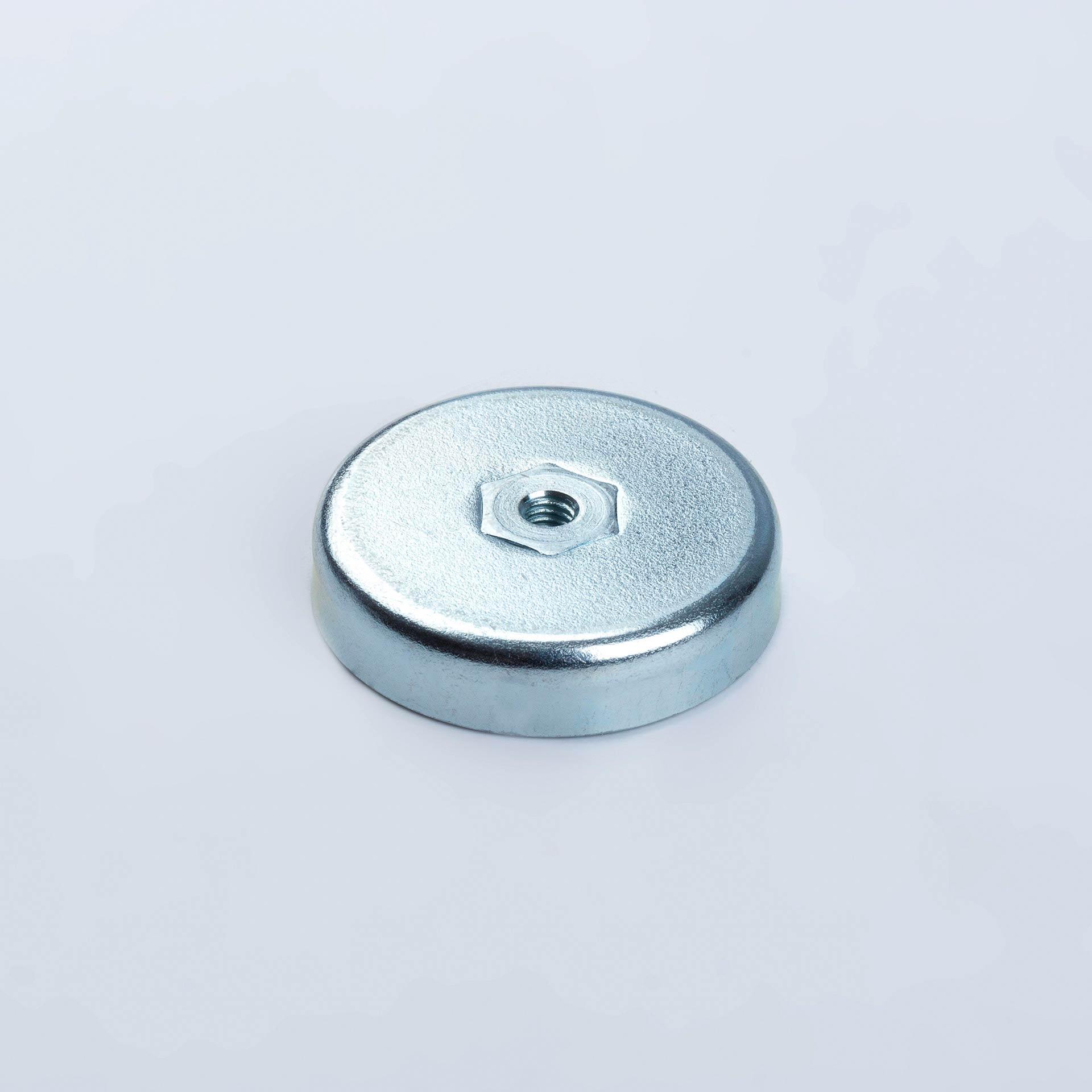 Flachgreifer aus Hartferrit, mit Innengewinde, verzinkt, thyssenkrupp Magnettechnik
