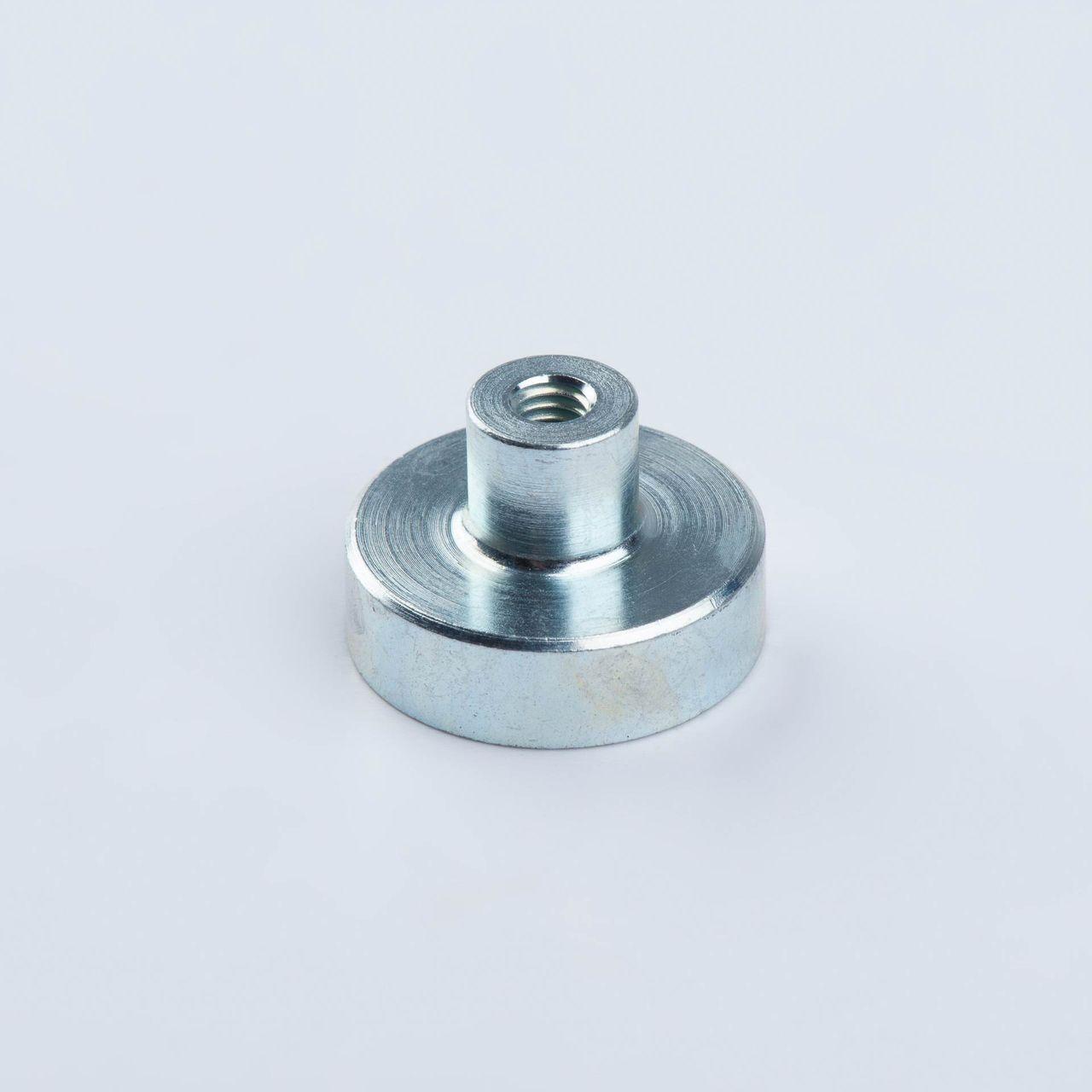 Pot magnet made of SmCo, with threaded bush, galvanized, thyssenkrupp Magnettechnik