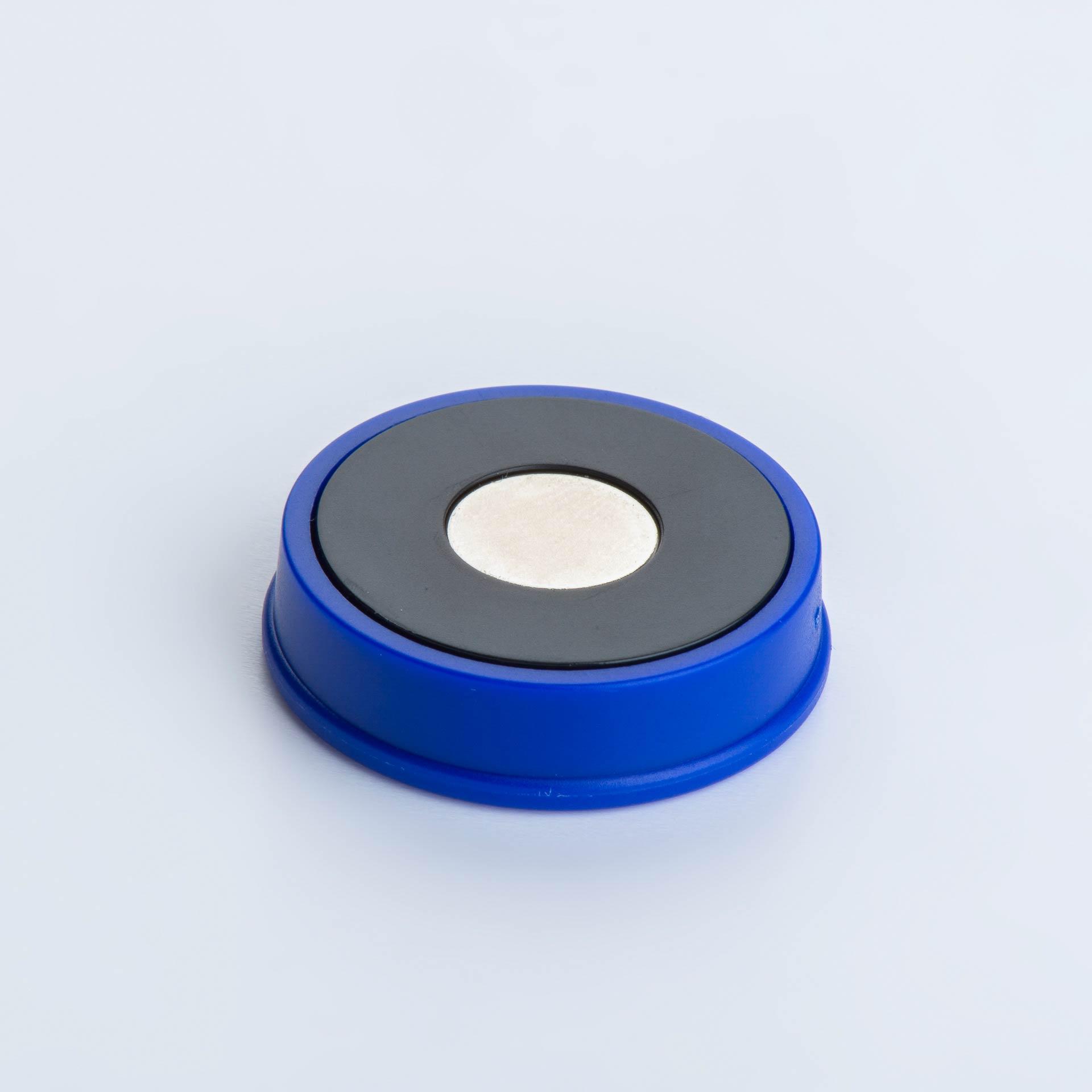 Organisationsmagnet aus Neodym mit rundem Kunststoffgehäuse, verschiedene Farben, thyssenkrupp Magnettechnik