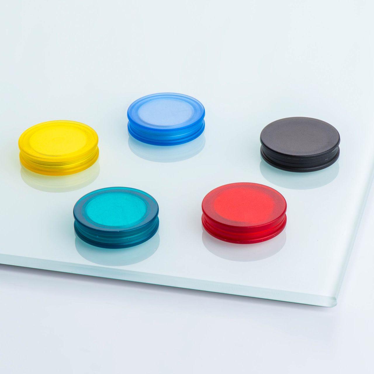 Glasboardmagnet aus Neodym, beidseitig haftend, mit rundem Kunststoffgehäuse, verschiedene Farben, thyssenkrupp Magnettechnik