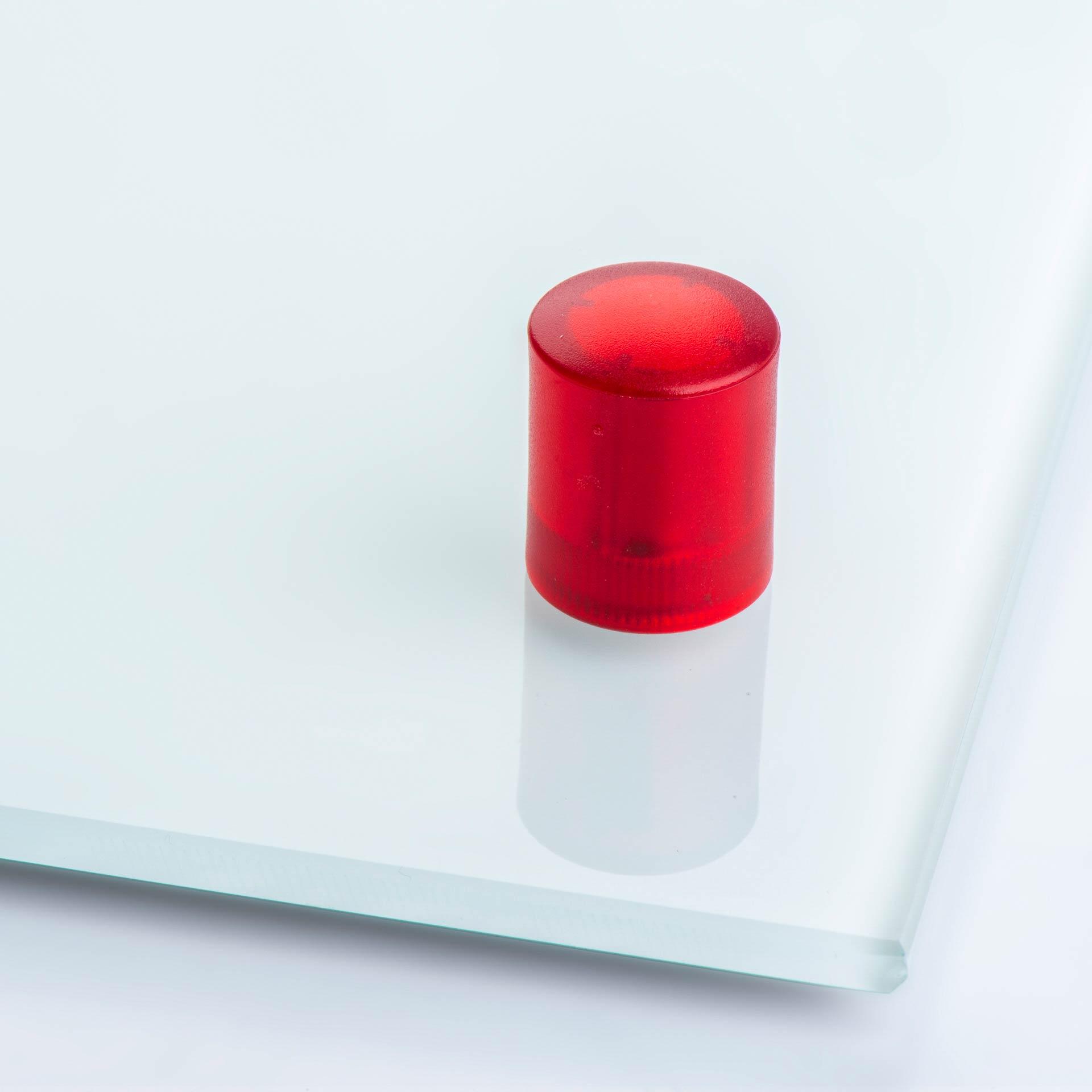 Glasboardmagnet aus Neodym, mit zylinderförmigem Kunststoffgehäuse, verschiedene Farben, thyssenkrupp Magnettechnik
