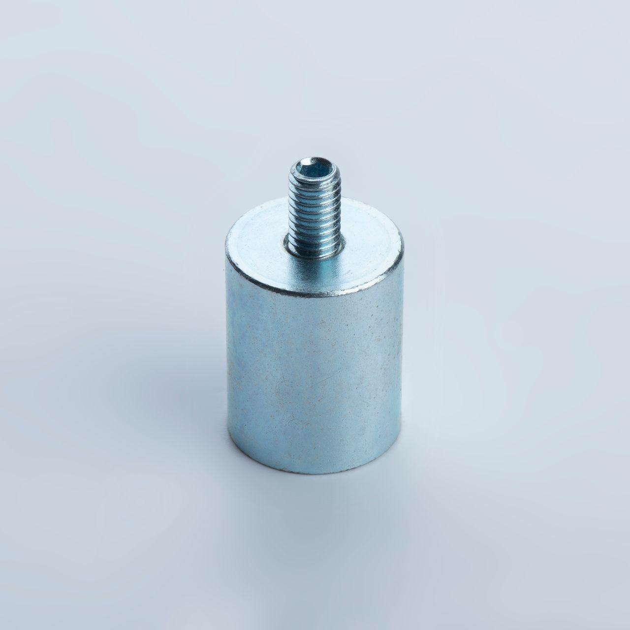 Bar holding magnet made of NdFeB, steel housing with external thread, galvanized, thyssenkrupp Magnettechnik