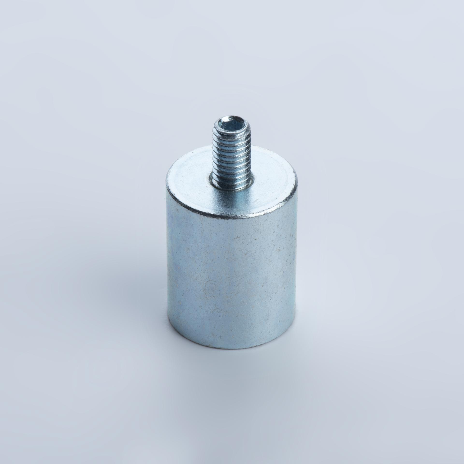 Stabgreifer aus Neodym, Stahlgehäuse mit Außengewinde, verzinkt, thyssenkrupp Magnettechnik