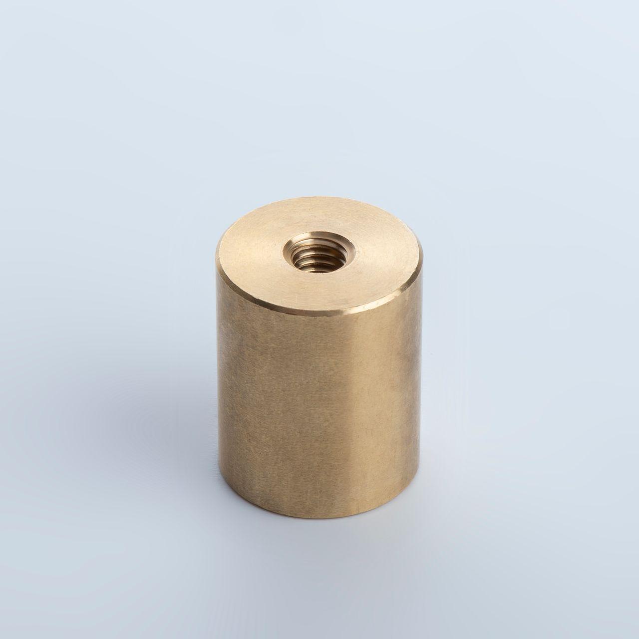 Bar holding magnet made of NdFeB, brass housing with fit tolerance h6 and internal thread, thyssenkrupp Magnettechnik