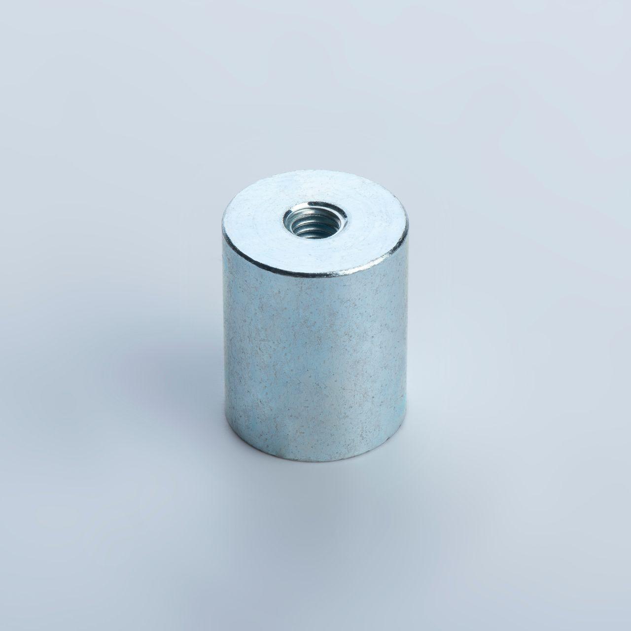 Bar holding magnet made of NdFeB, steel housing with internal thread, galvanized, thyssenkrupp Magnettechnik