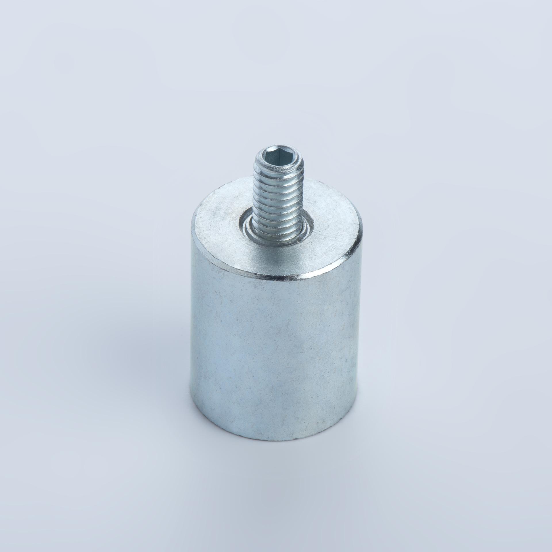 Stabgreifer aus AlNiCo, Stahlgehäuse mit Außengewinde, verzinkt, thyssenkrupp Magnettechnik
