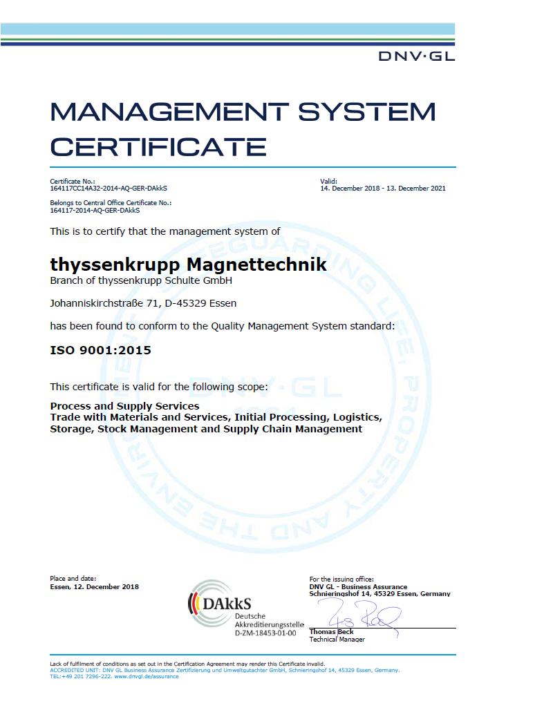 Certificate EN ISO 9001:2015