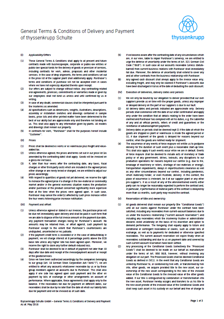 General Terms and Conditions of Delivery and Payment of thyssenkrupp Schulte