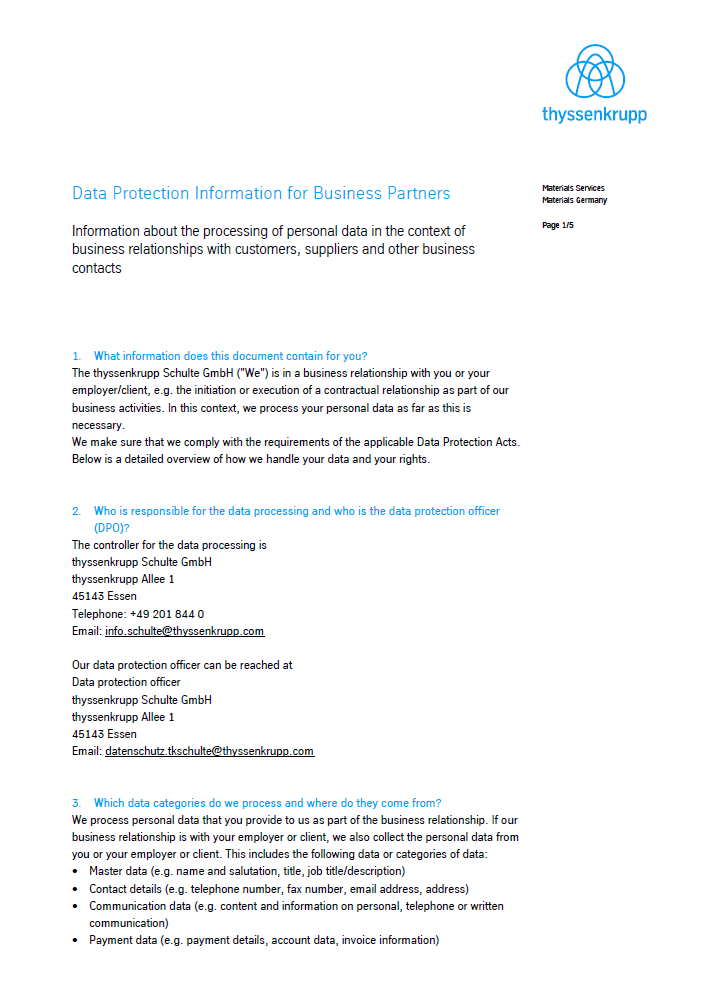 Data protection information for business partners