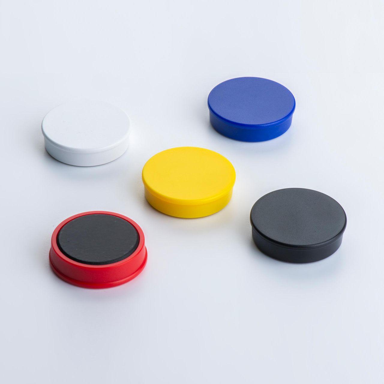 Office magnet made of ferrite with round plastic housing, coloured, thyssenkrupp Magnettechnik