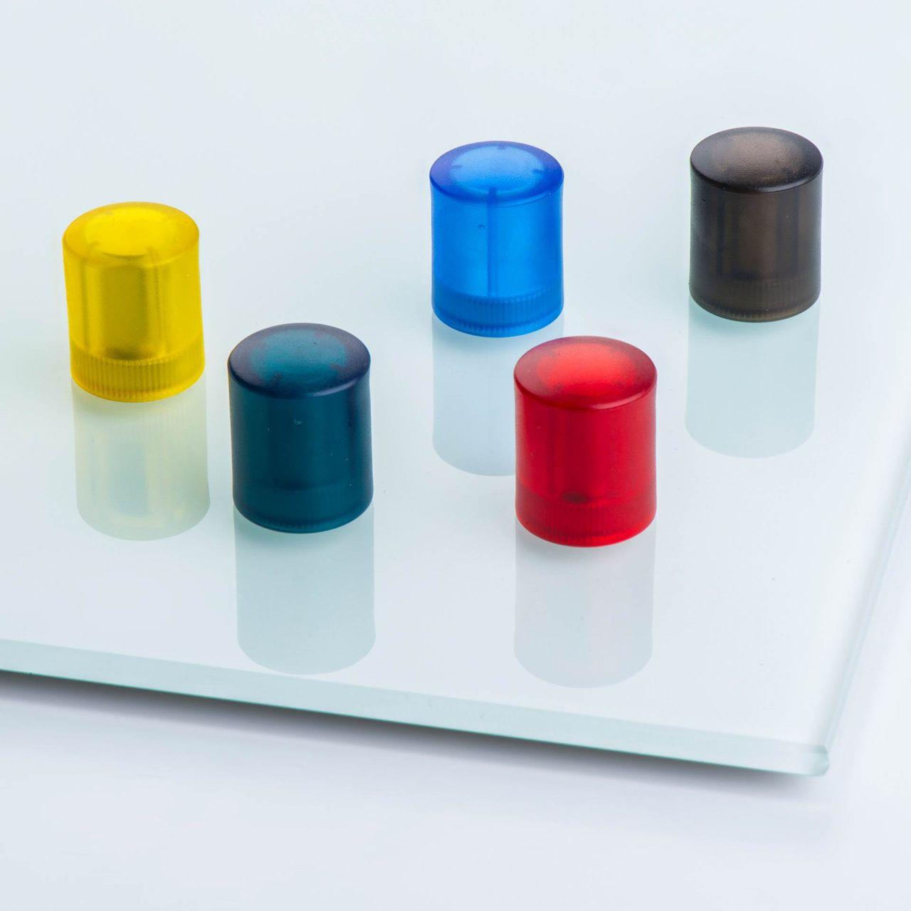 Glasboard magnet made of NdFeB with cylindrical plastic housing, coloured, thyssenkrupp Magnettechnik