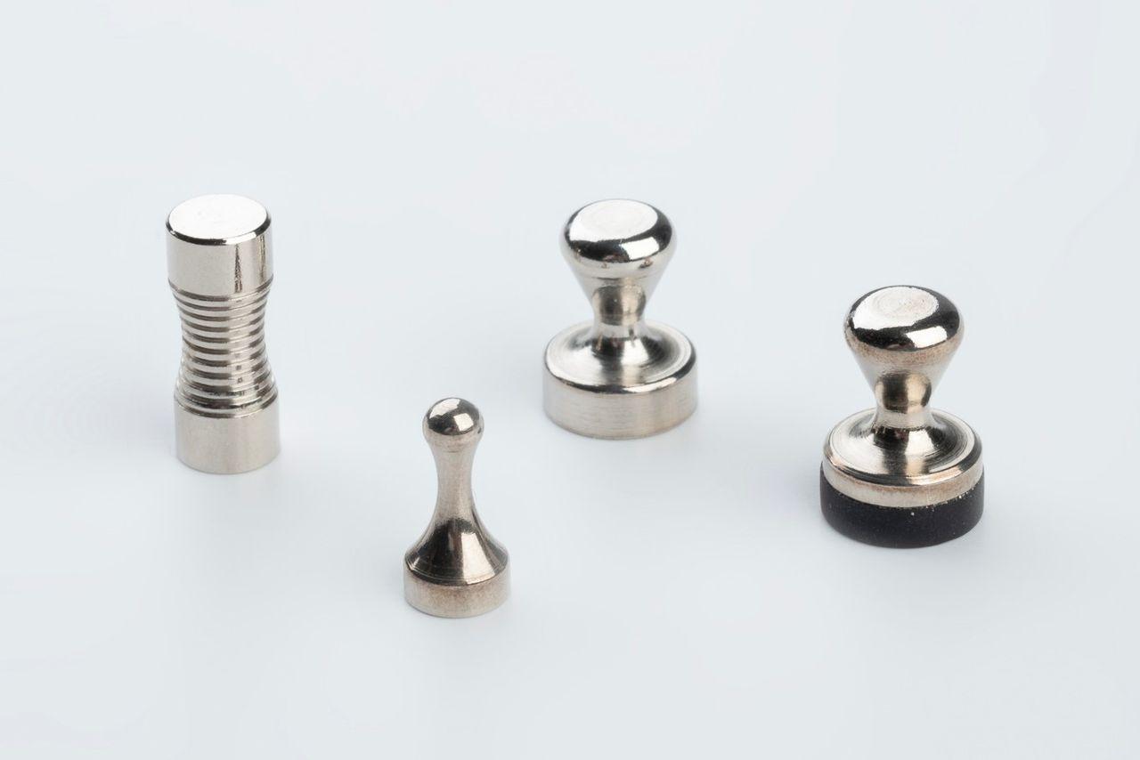 Office magnets with grip made of NdFeB, thyssenkrupp Magnettechnik