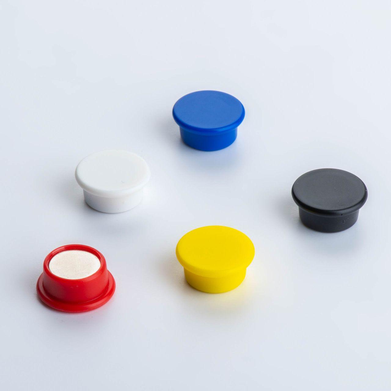Office magnet made of NdFeB with round plastic housing, coloured, thyssenkrupp Magnettechnik