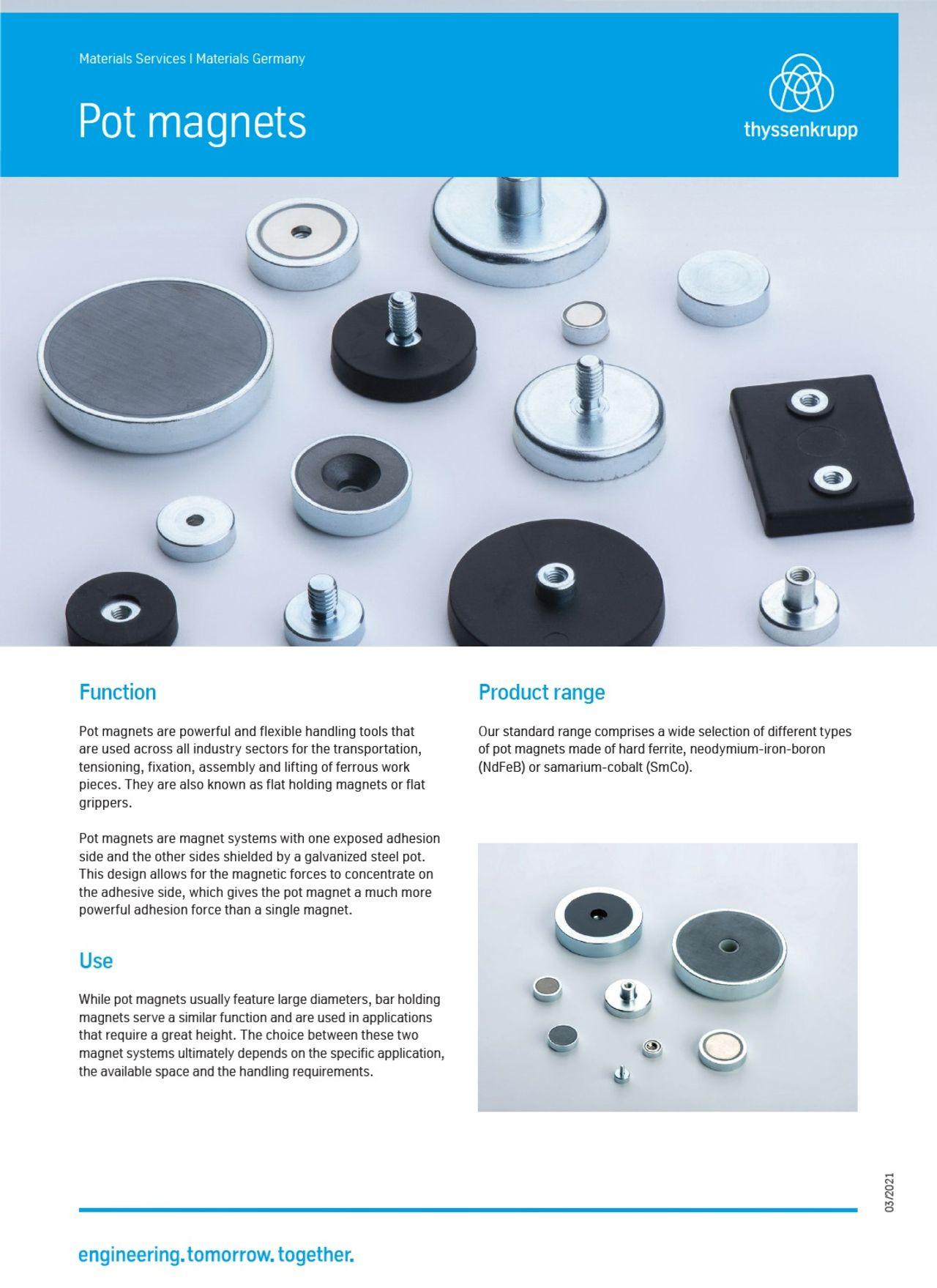 Pot magnets, thyssenkrupp Magnettechnik