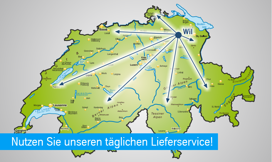 Täglicher Lieferservice in die ganze Schweiz und ins angrenzende Ausland