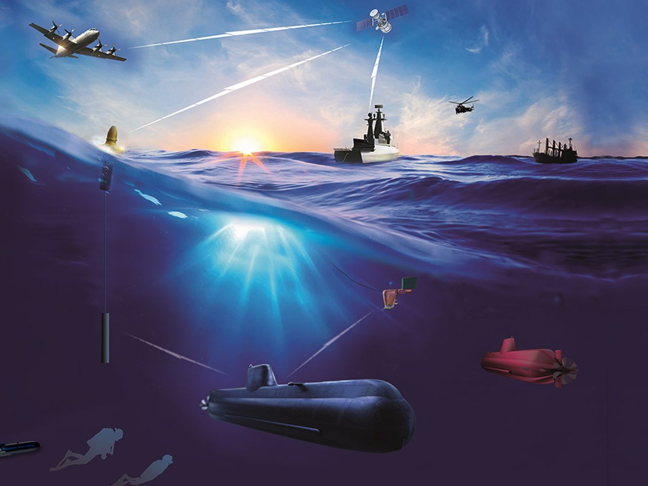 Digital underwater communication in maritime shipbuilding.