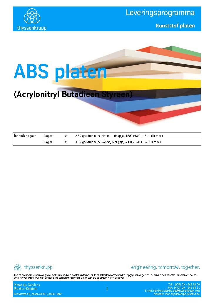 Afbeelding Cover ABS plaat leveringsprogarmma
