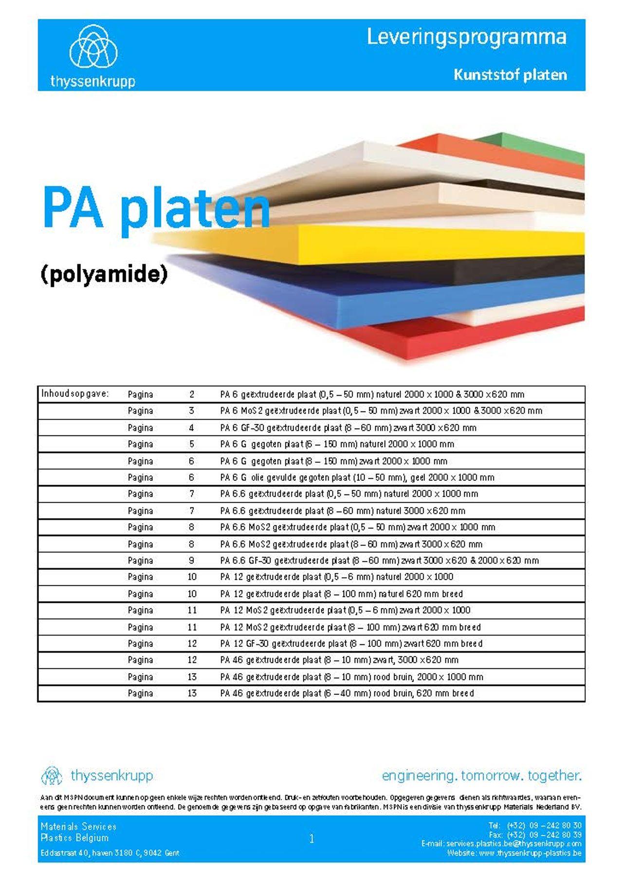Afbeelding Cover PA plaat leveringsprogramma