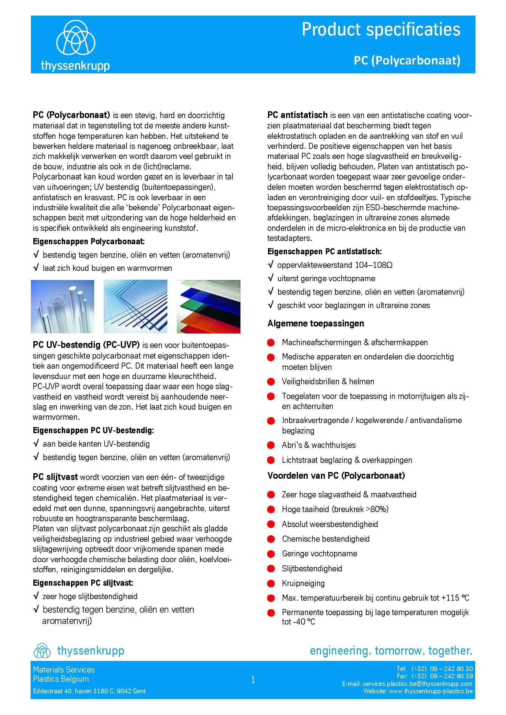 Afbeelding Cover PC plaat technische fiche