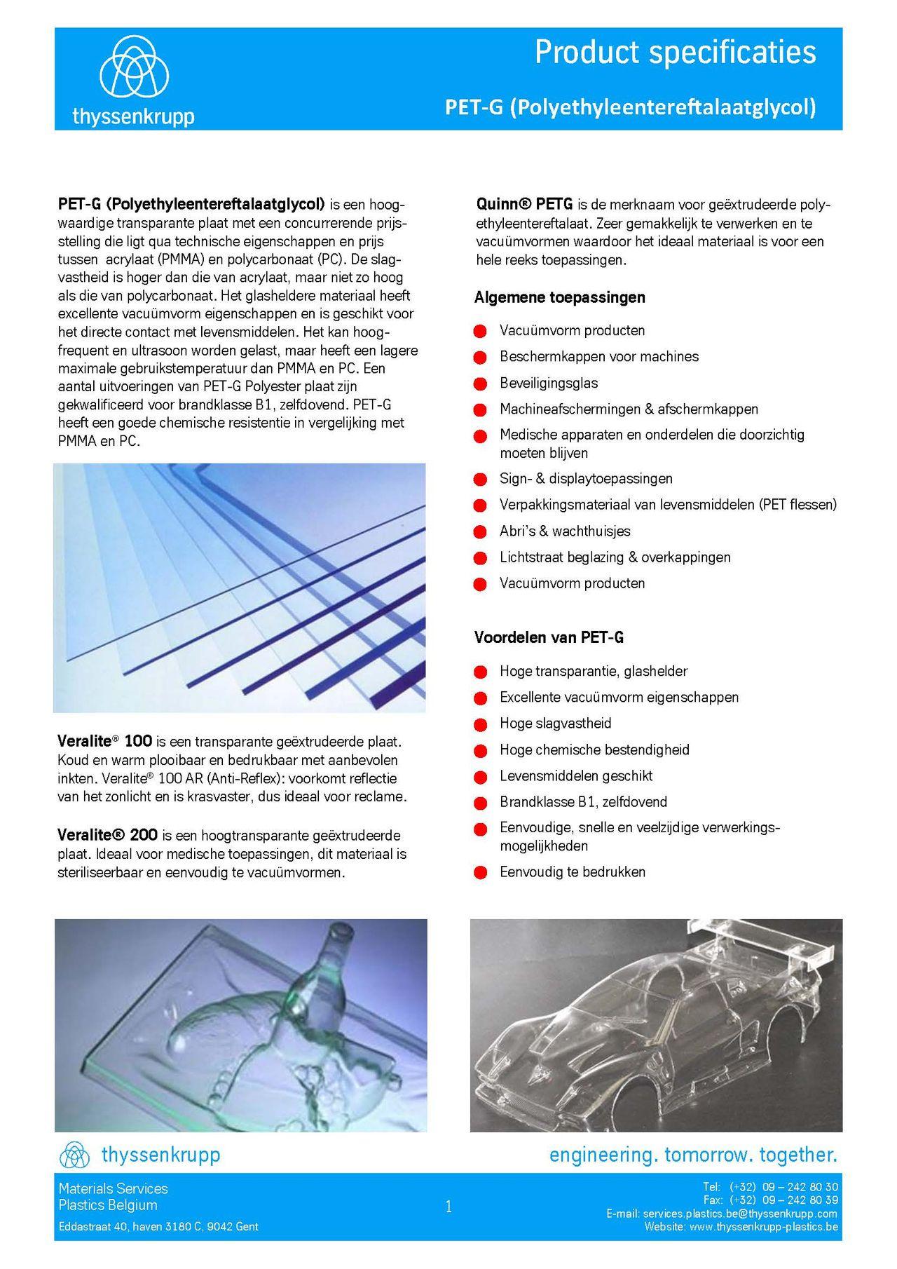 Afbeelding Cover PET-G plaat technische fiche