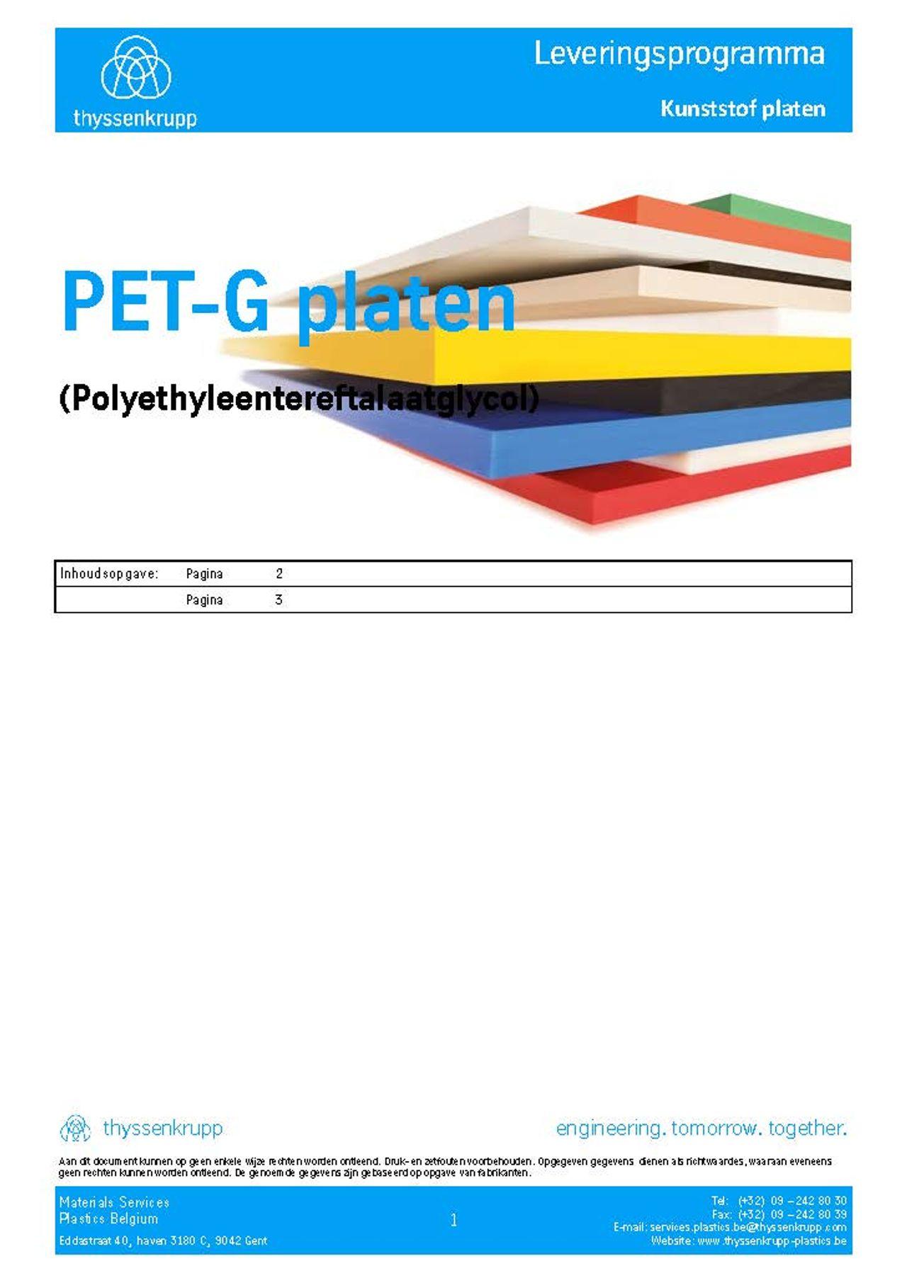 Afbeelding Cover PET-G plaat leveringsprogramma