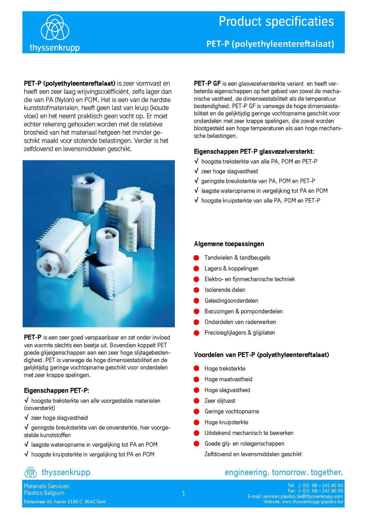 Afbeelding Cover PET-P plaat technische fiche