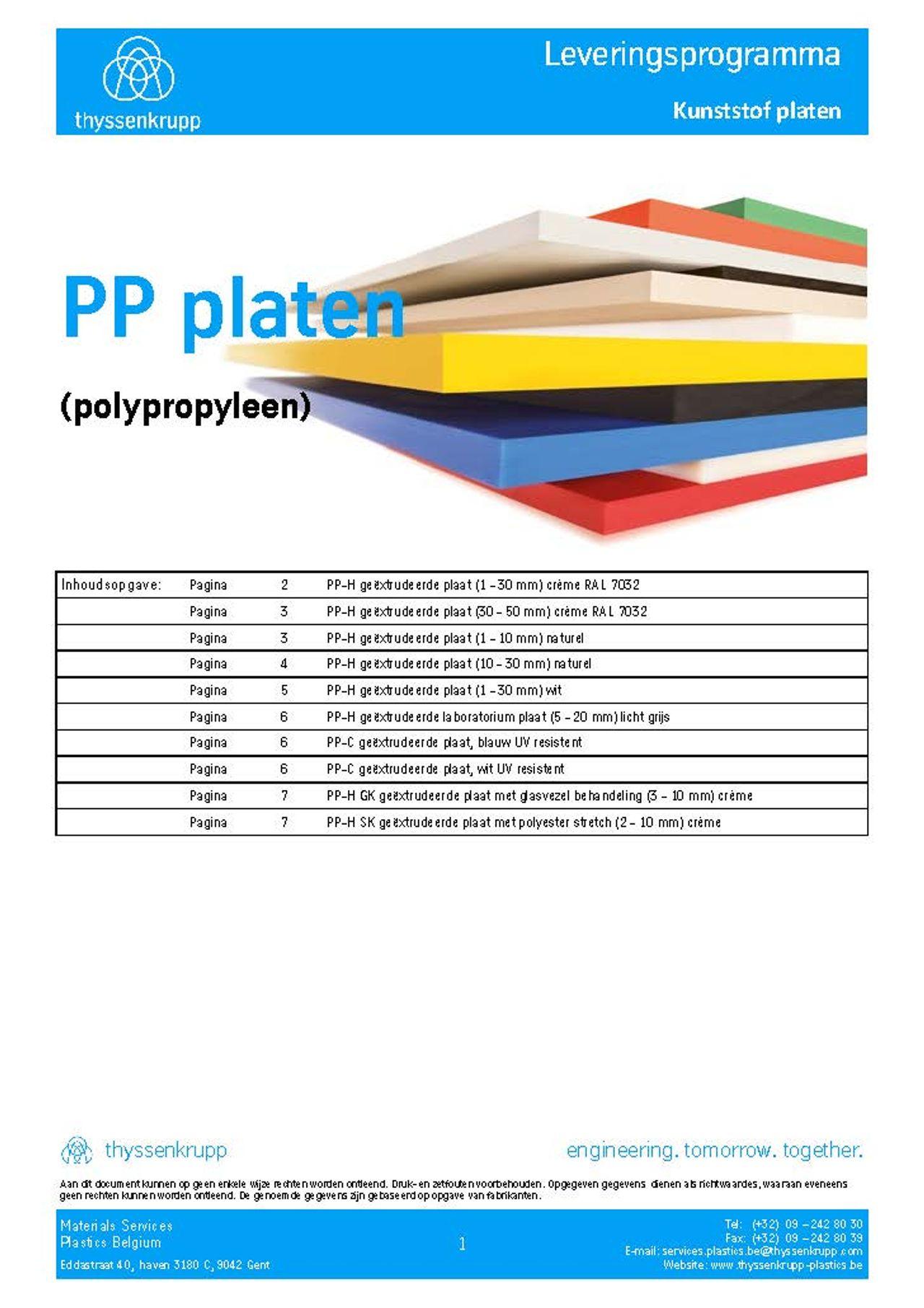 Afbeelding Cover PP plaat leveringsprogramma