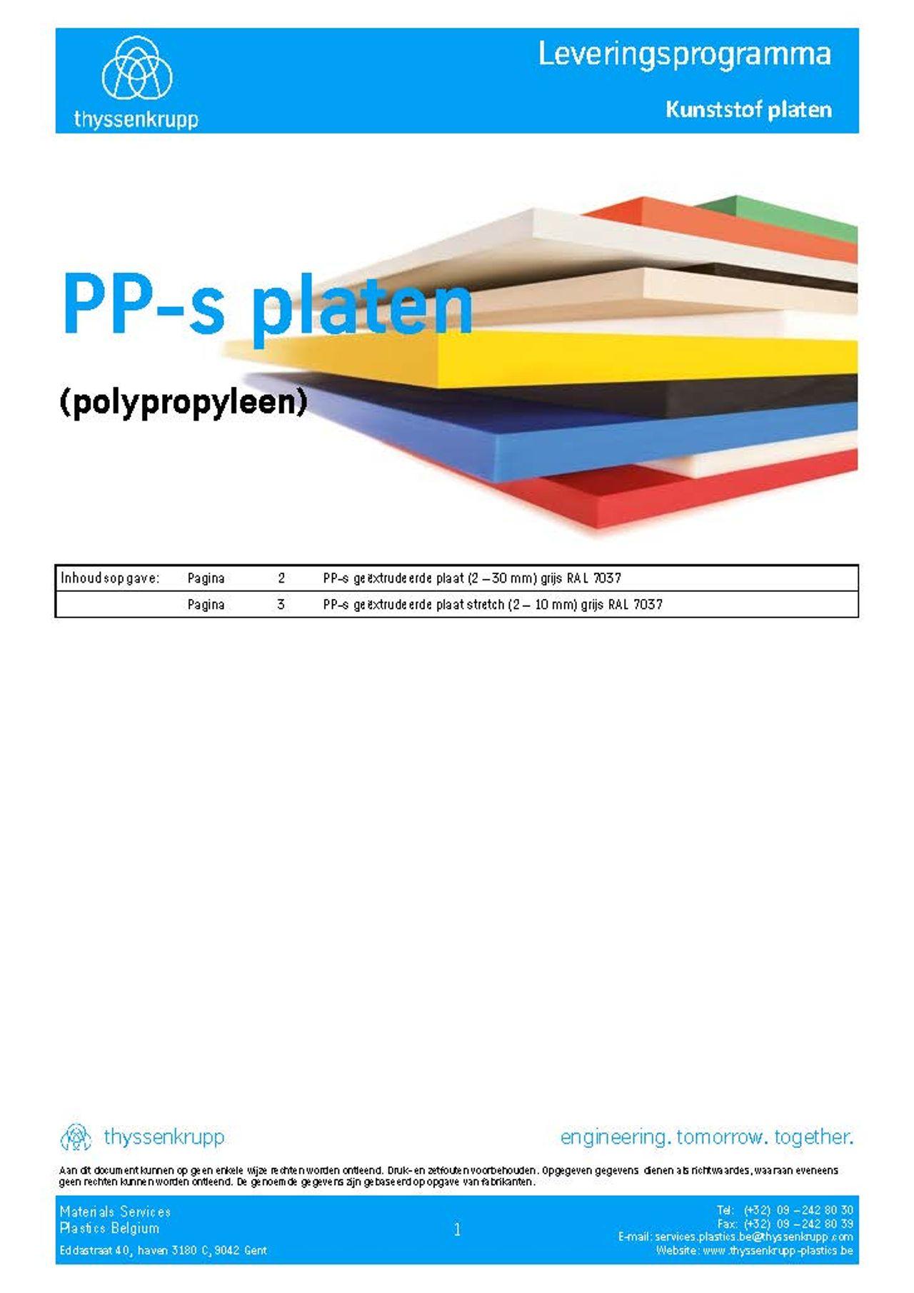 Afbeelding Cover PPs plaat leveringsprogramma
