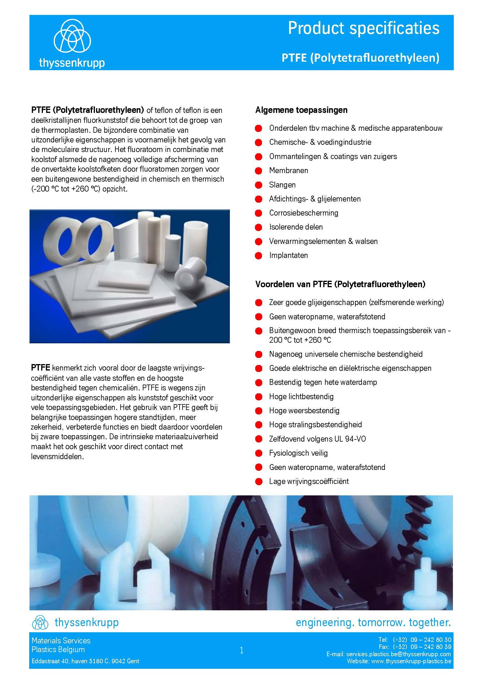 Afbeelding cover PTFE plaat technische fiche