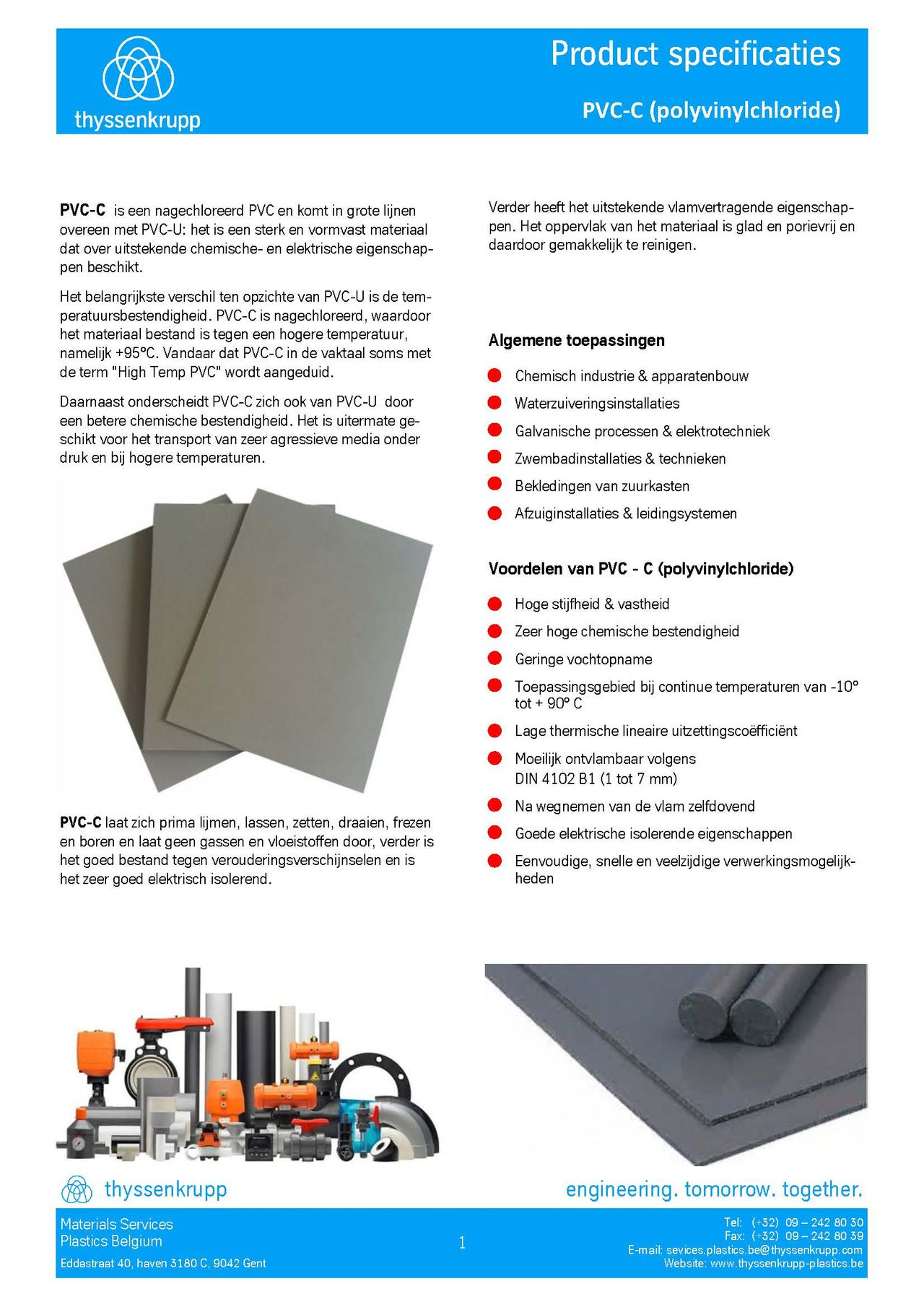 Afbeelding Cover PVC-C plaat technische fiche