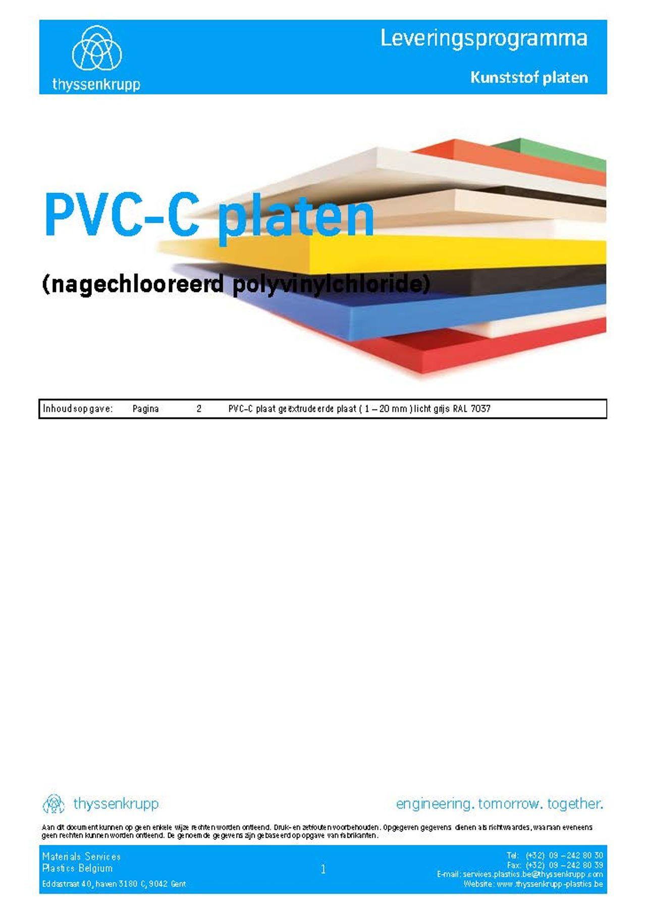 Afbeelding Cover PVC-C plaat leveringsprogramma