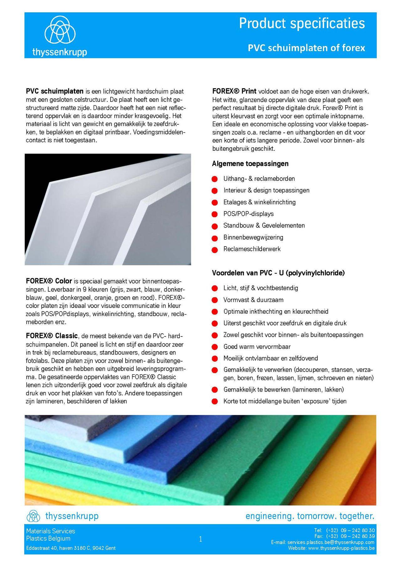 Afbeelding Cover PVC-U geschuimde plaat technische fiche