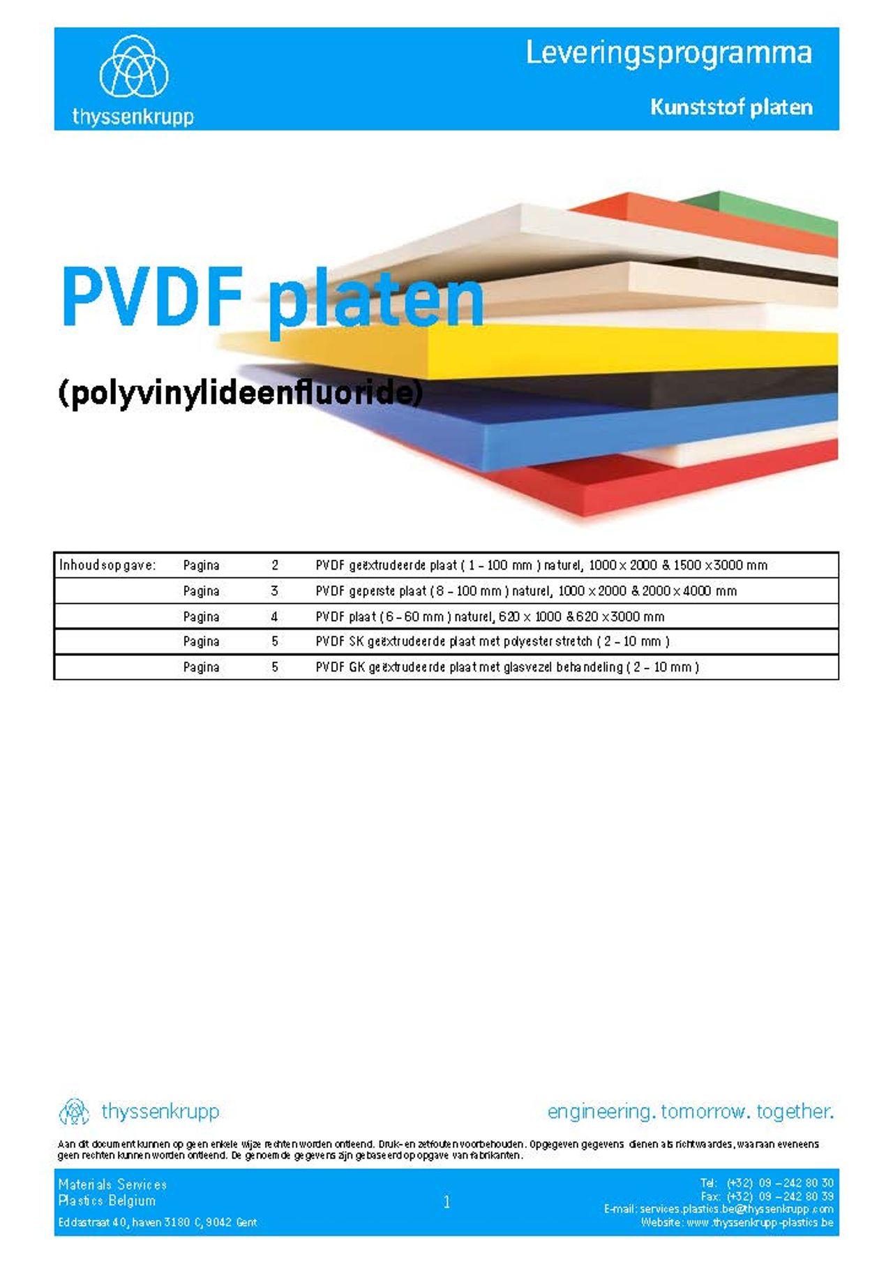 Afbeelding Cover PVDF plaat technische fiche