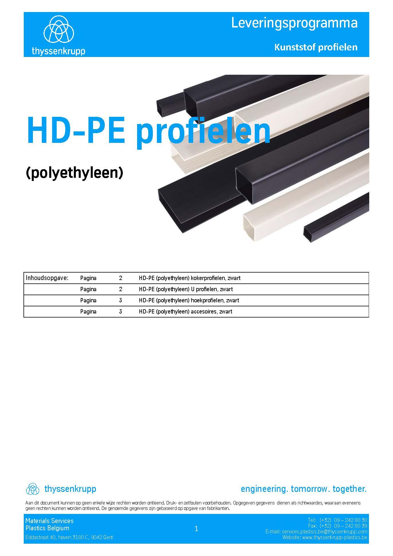 Afbeelding cover PE kunststof profielen leveringsprogramma