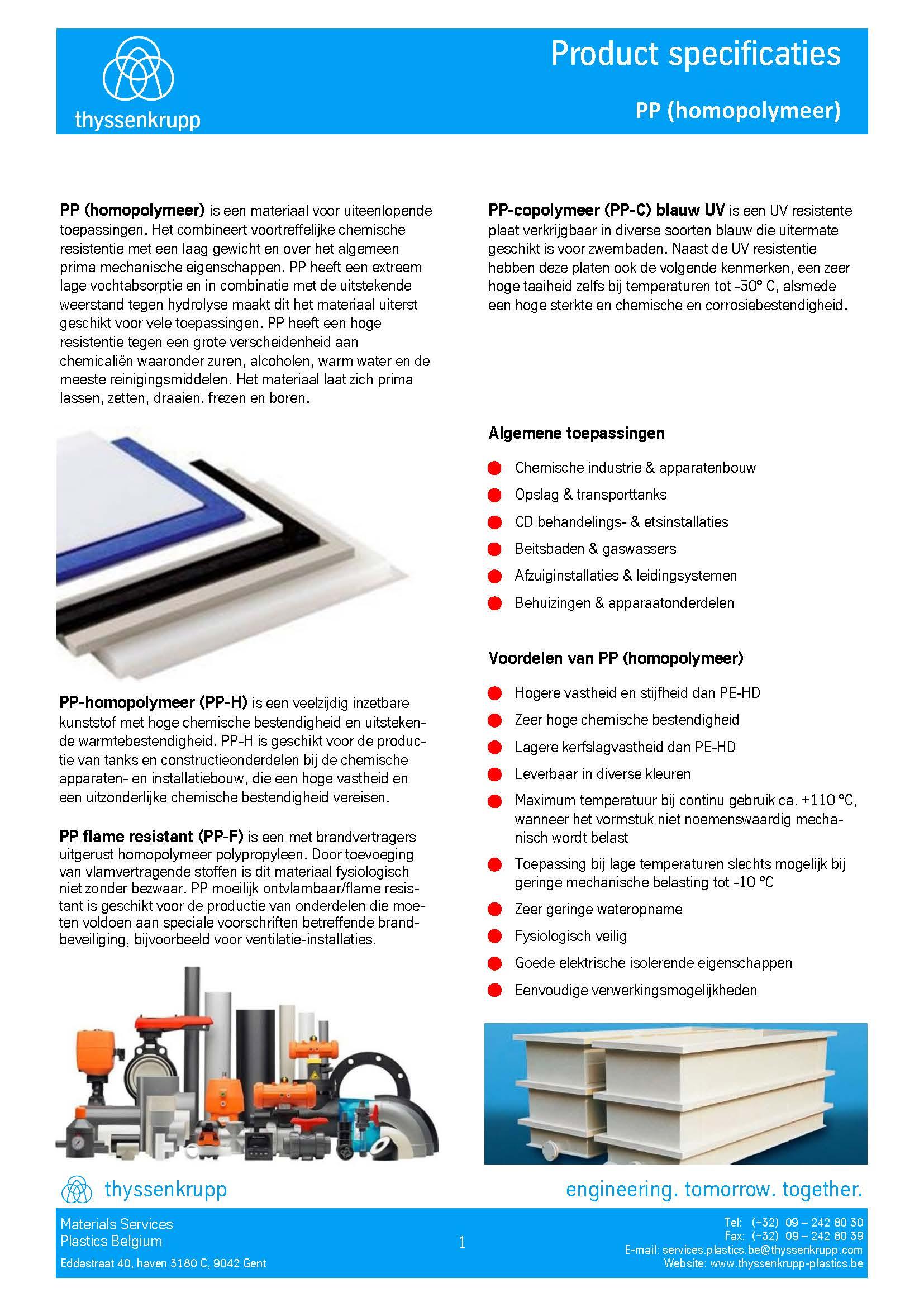 Afbeelding cover PP kunststof profielen technische fiche