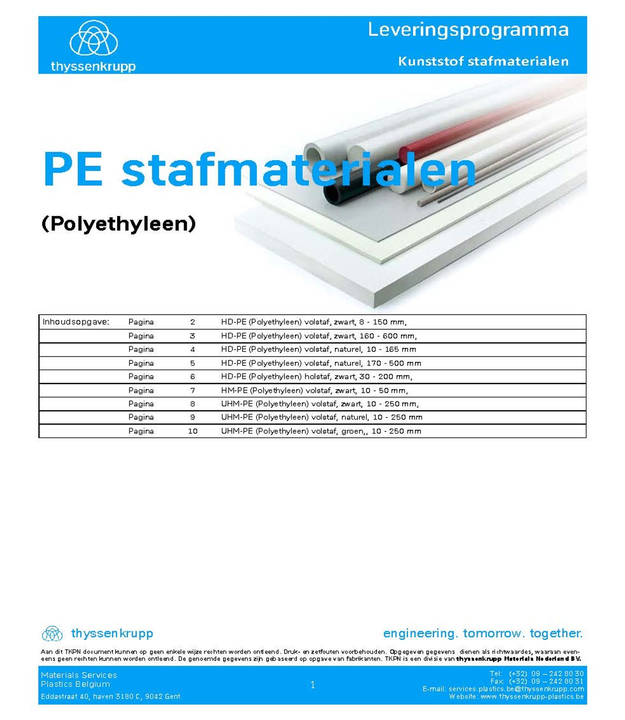 Afbeelding Cover PE Staf leveringsprogramma