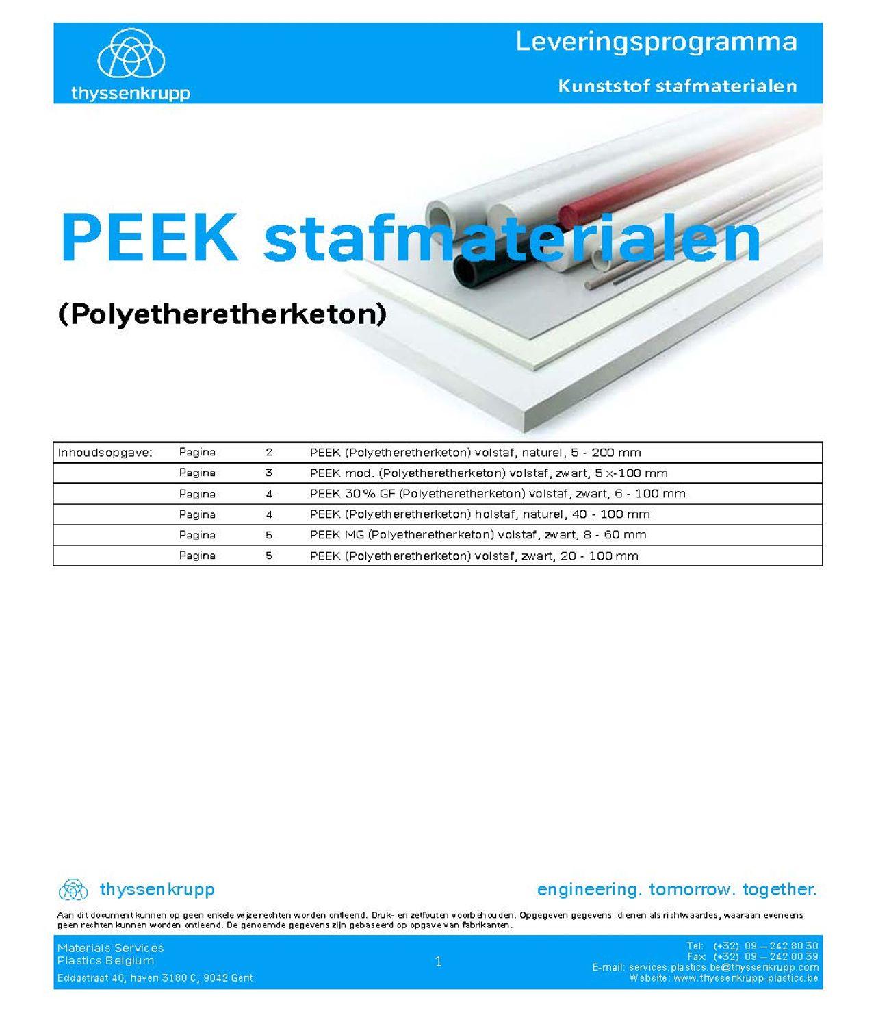 Afbeelding cover PEEK staf leveringsprogramma