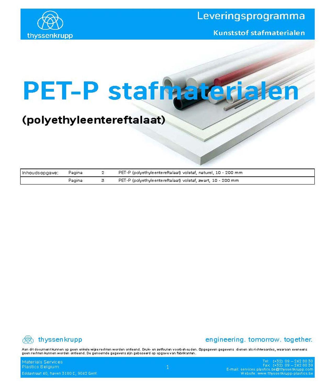 Afbeelding Cover PET-P leveringsprogramma