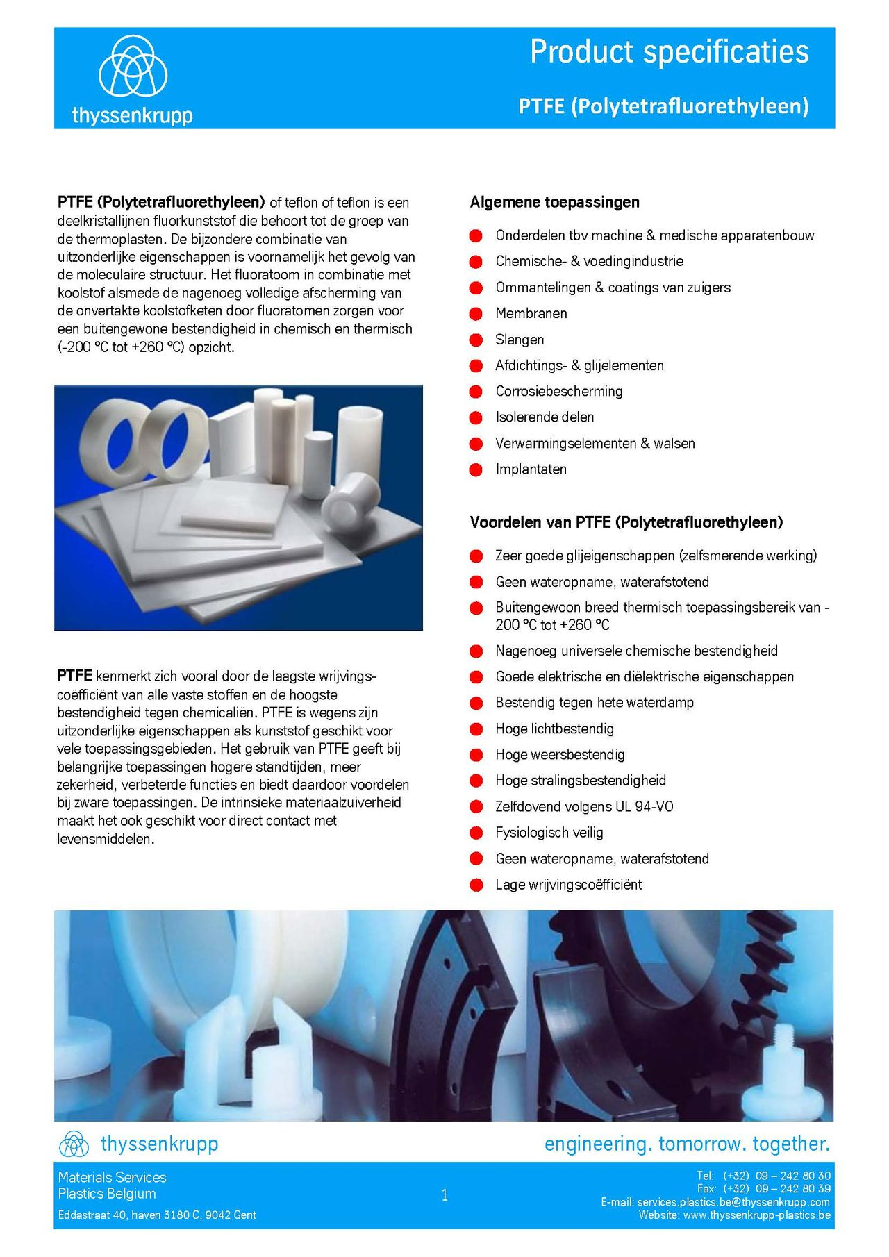 Afbeelding cover PTFE technische fiche