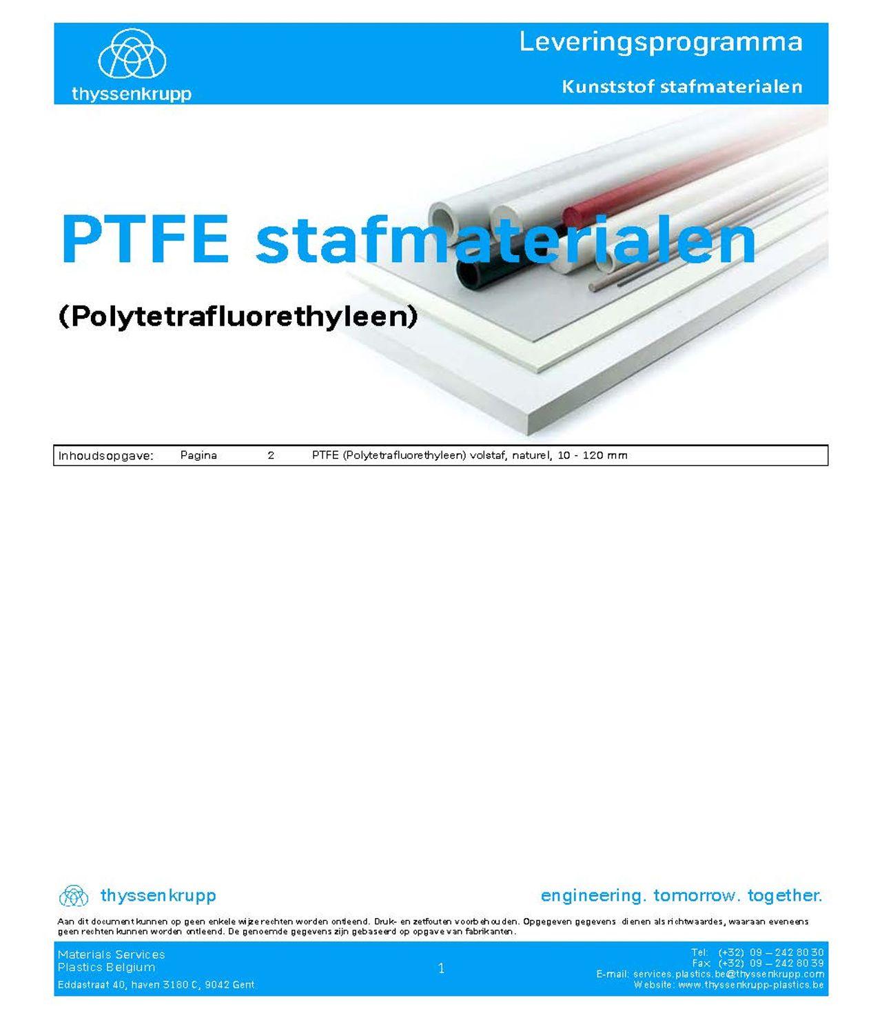 afbeelding cover PTFE staf leveringsprogramma
