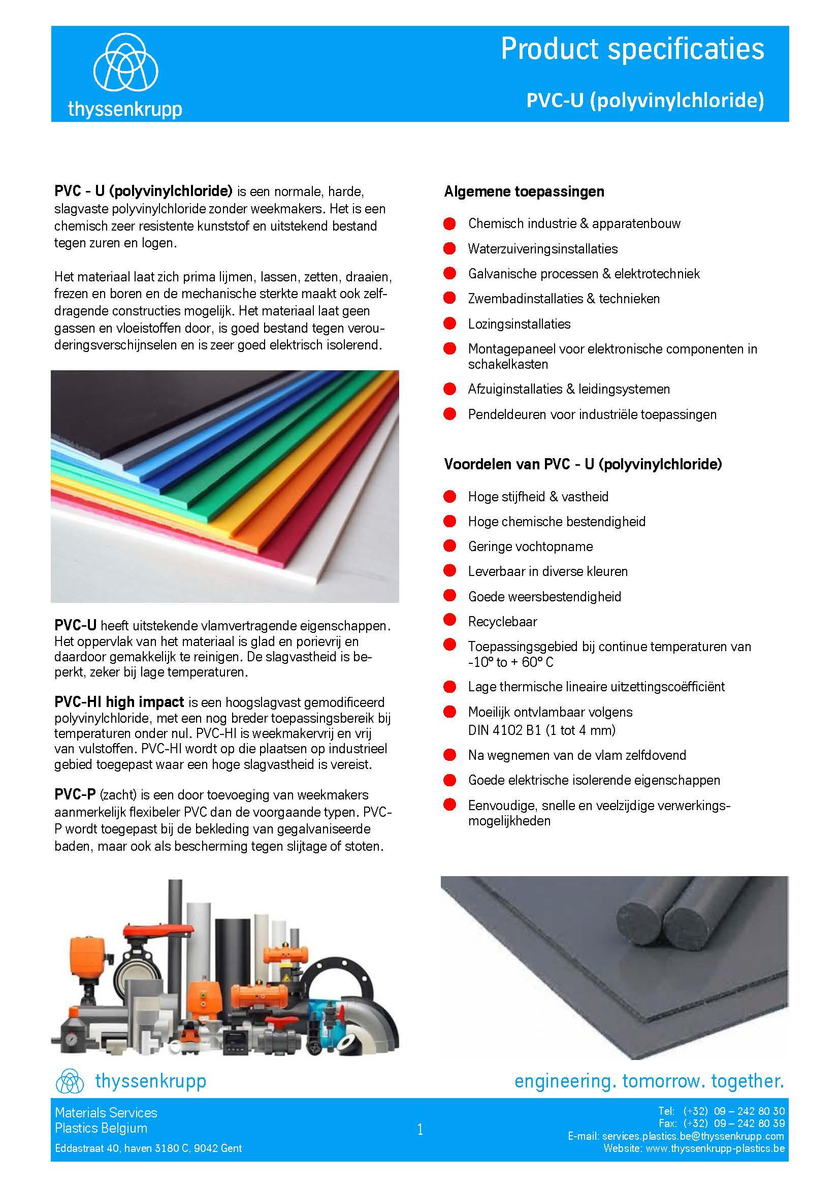 Afbeelding PVC-U staf technische' fiche