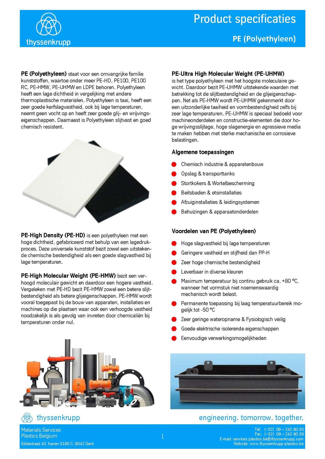 Afbeelding cover PE industriële leidingsystemen tehncische fiche