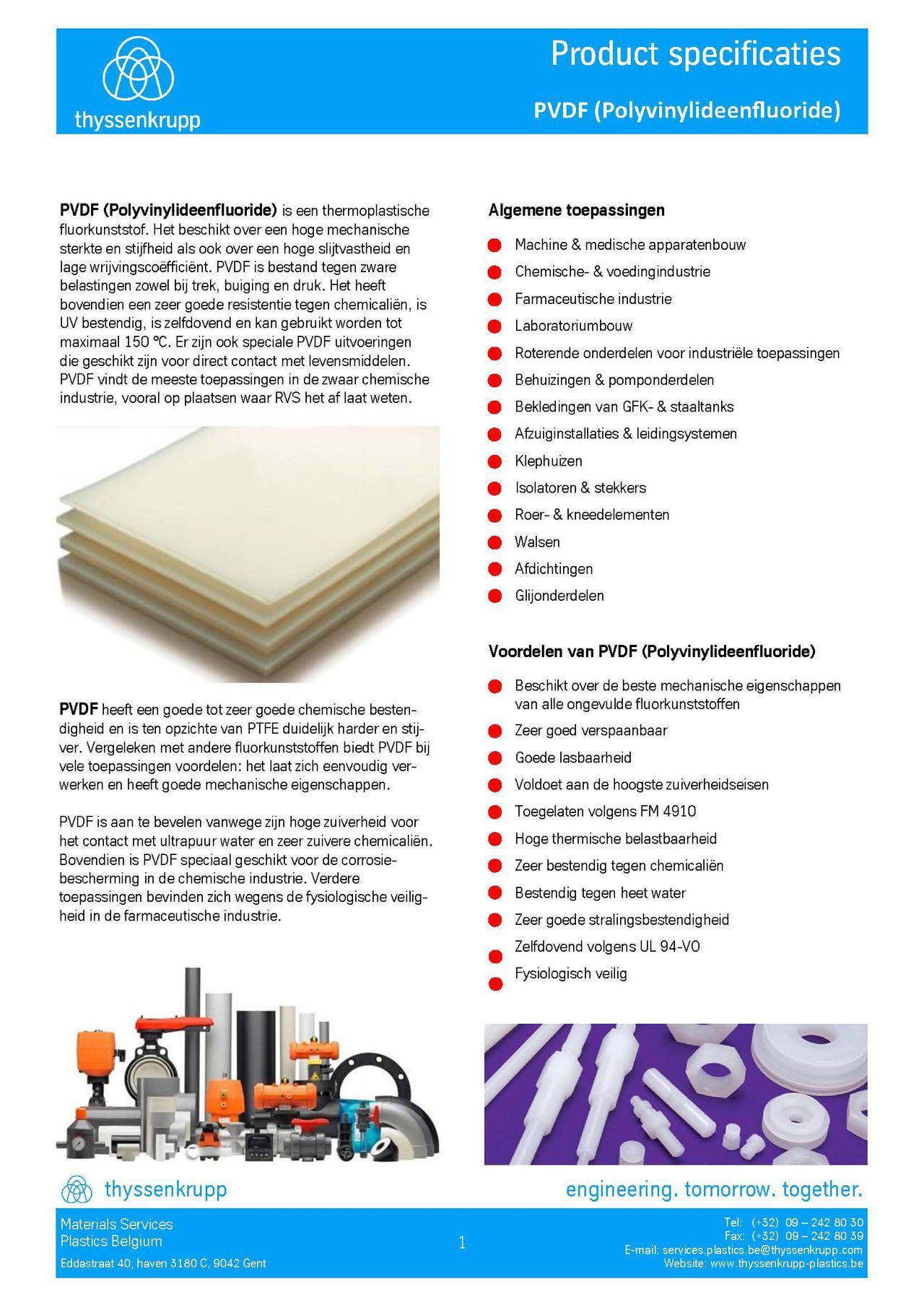 Afbeelding cover PVDF industriële leidingsystemen technische fiche