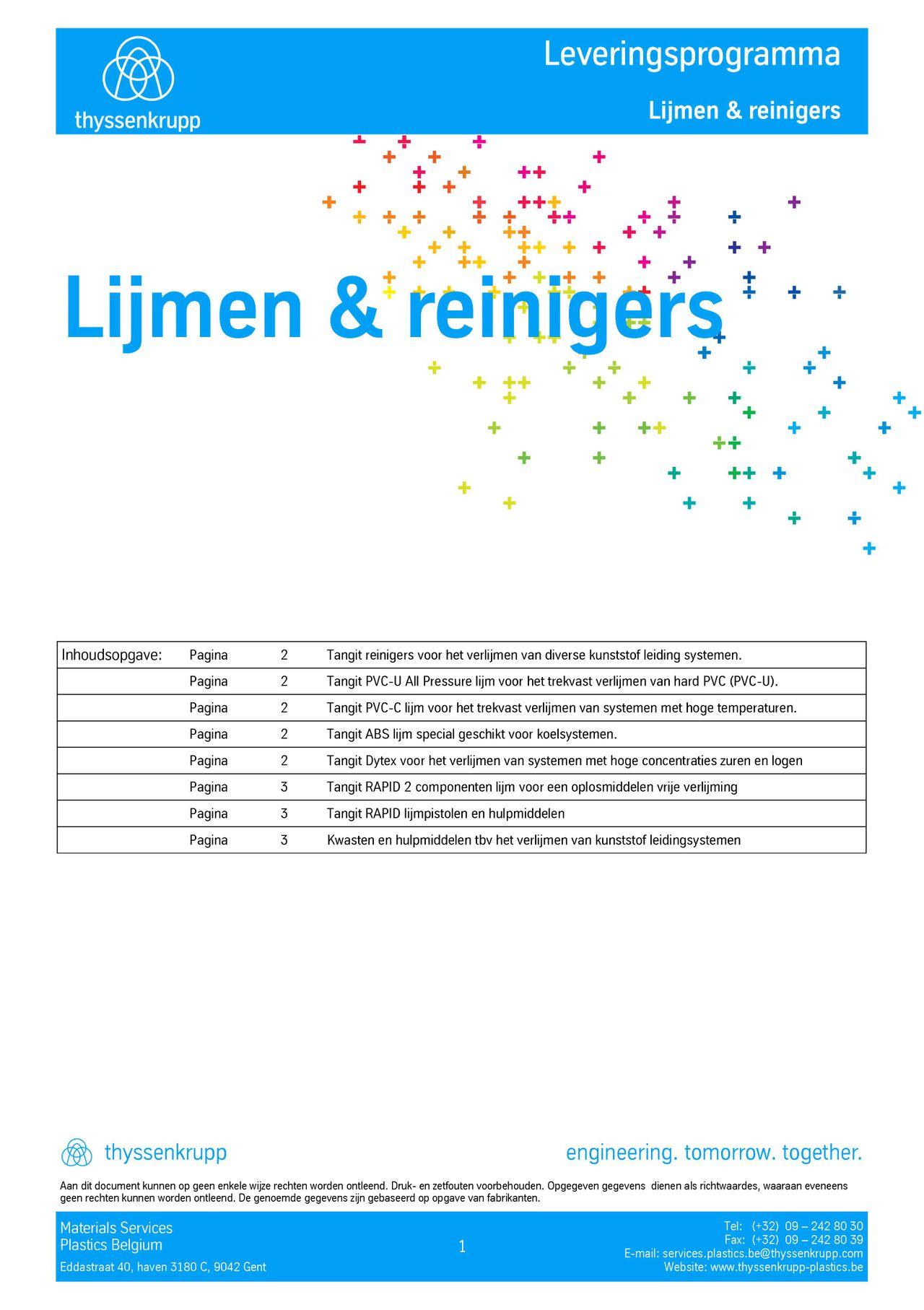 Afbeelding cover lijmen en reinigers leveringsprogramma