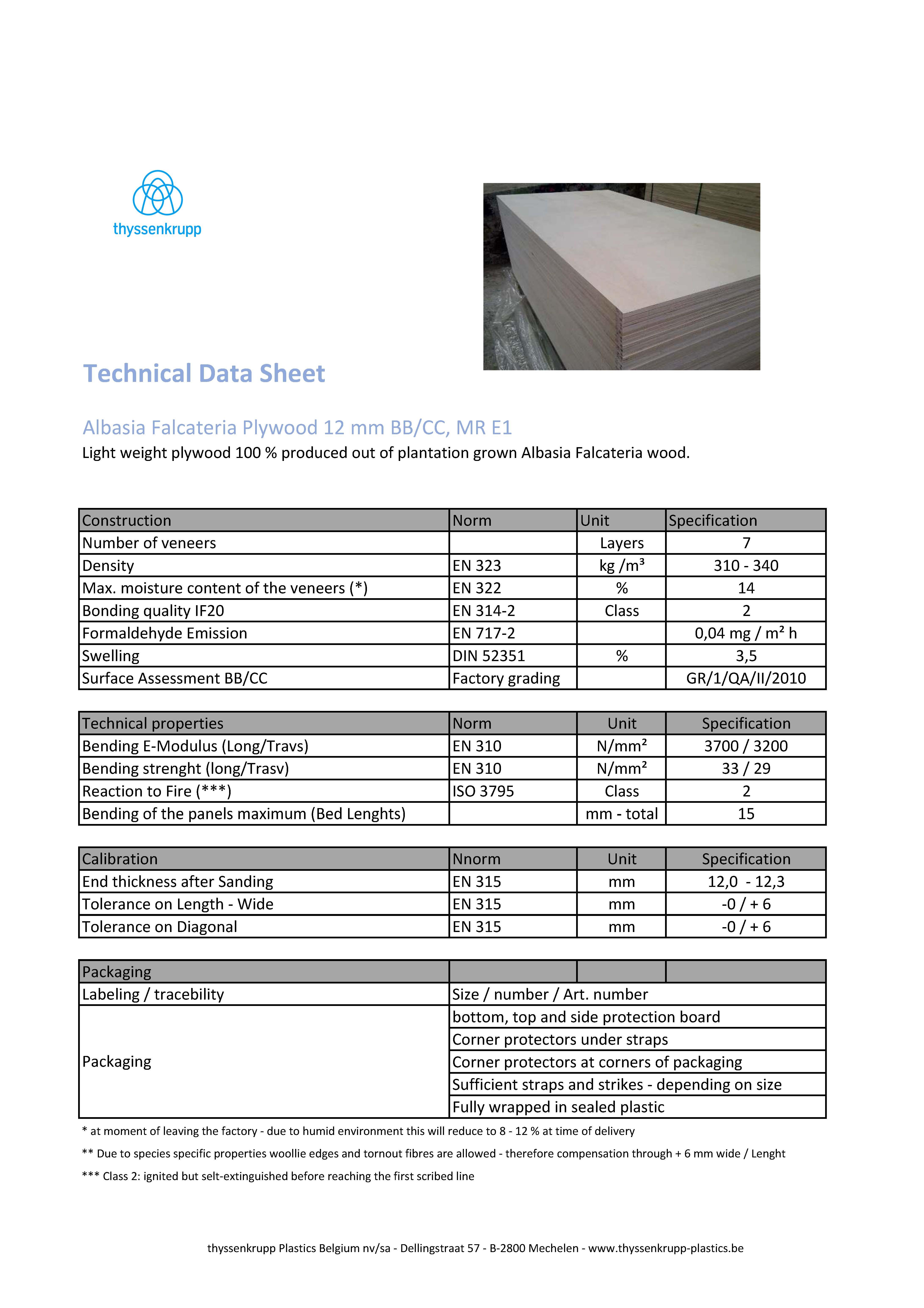 Afbeelding Cover technische fiche ALBASIA FALCATA