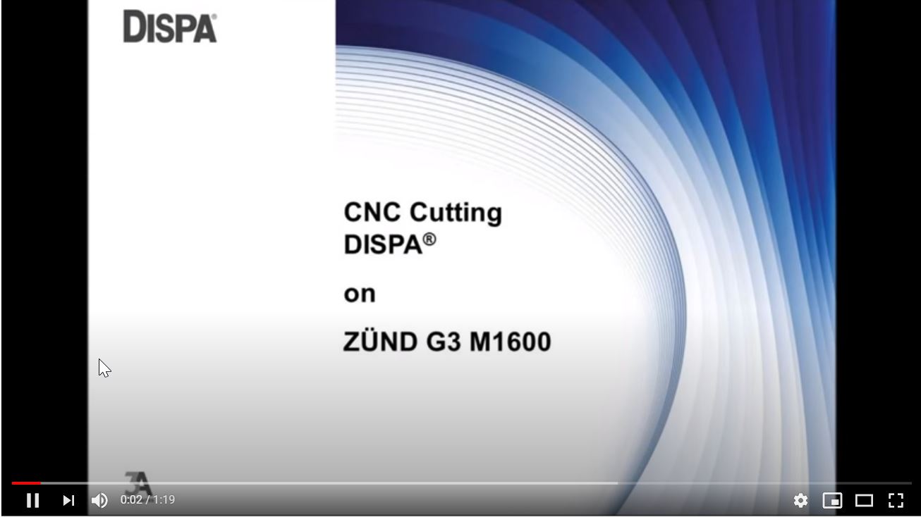 Afbeelding You Tube film CNC Cutting Dispa