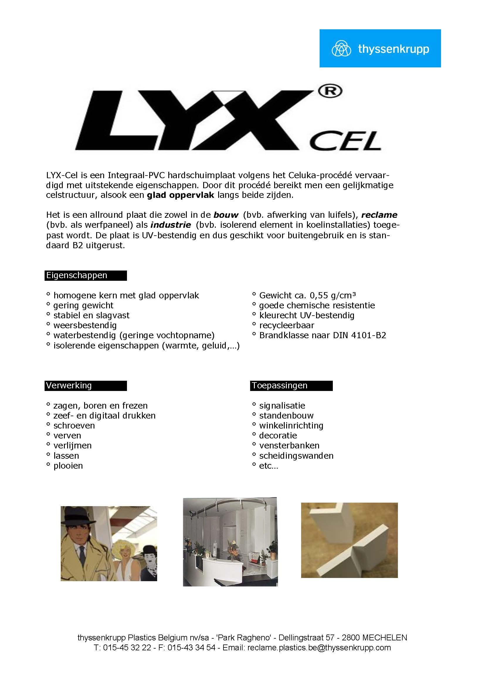 Afbeelding Technische fiche Lyx® Cel