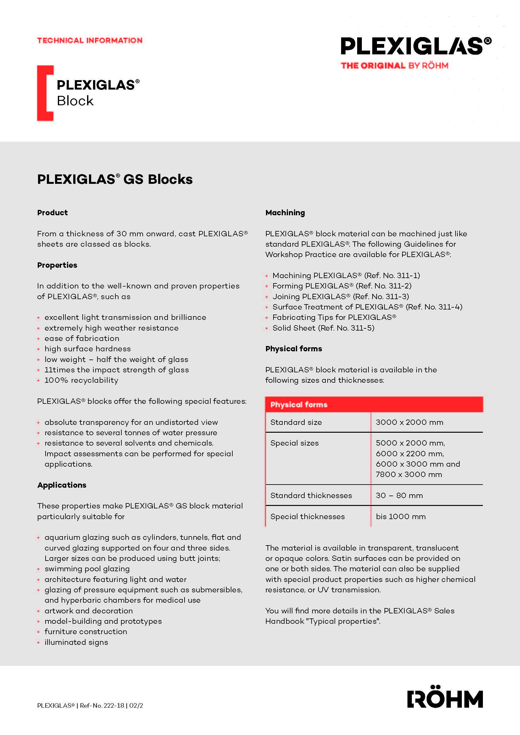Afbeelding Technische fiche PLEXIGLAS® GS BLOKKEN