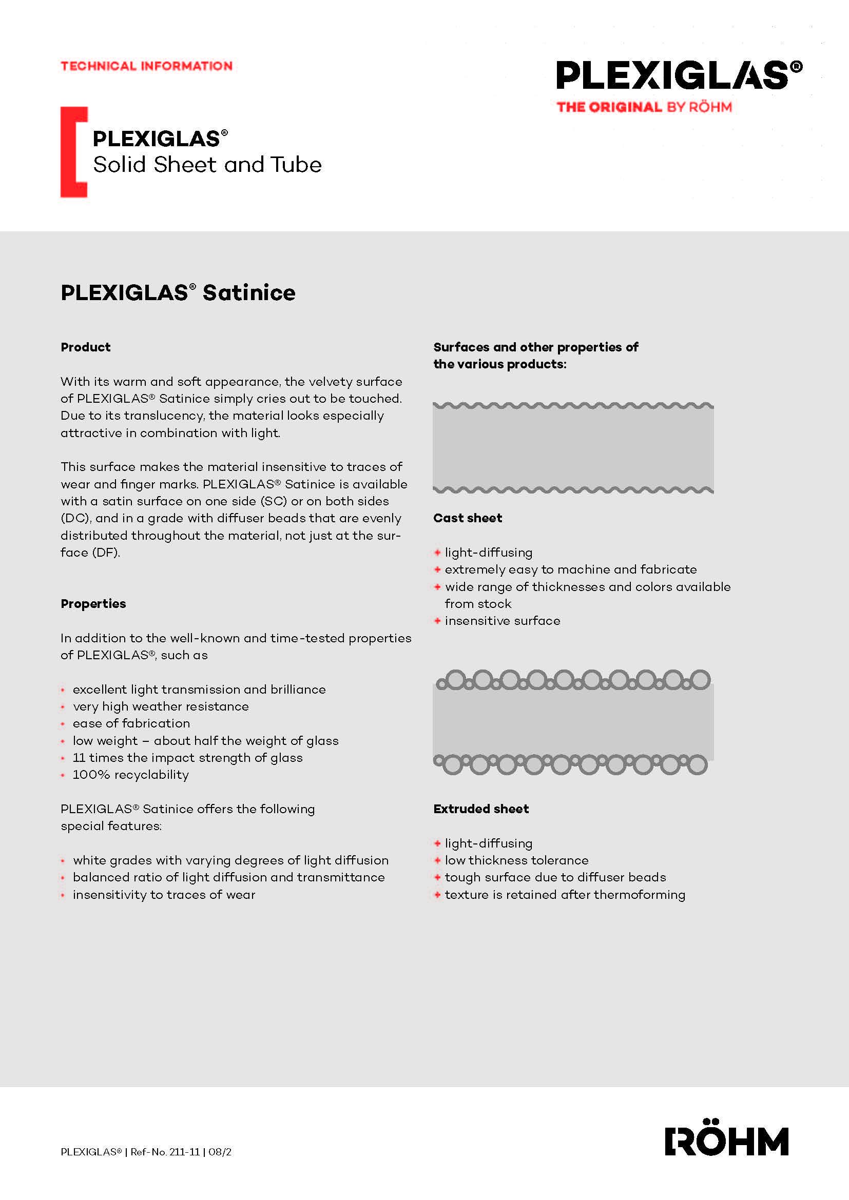 Afbeelding Technische fiche PLEXIGLAS® GS SATINICE